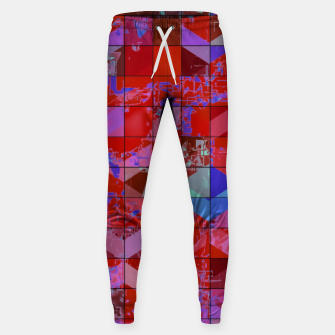 Miniaturka geometric square and triangle pattern abstract in red and blue Sweatpants, Live Heroes