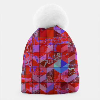 Miniaturka geometric square and triangle pattern abstract in red and blue Beanie, Live Heroes