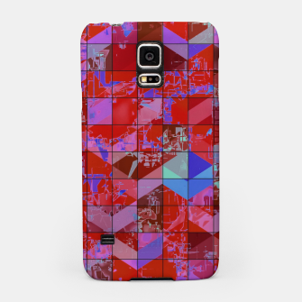 Miniatur geometric square and triangle pattern abstract in red and blue Samsung Case, Live Heroes