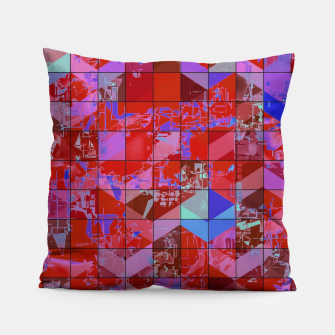 Miniaturka geometric square and triangle pattern abstract in red and blue Pillow, Live Heroes