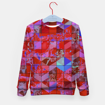 Miniaturka geometric square and triangle pattern abstract in red and blue Kid's sweater, Live Heroes