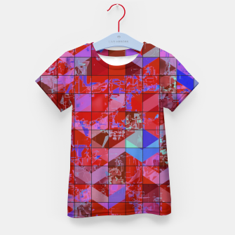 Miniaturka geometric square and triangle pattern abstract in red and blue Kid's t-shirt, Live Heroes