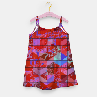 Miniaturka geometric square and triangle pattern abstract in red and blue Girl's dress, Live Heroes