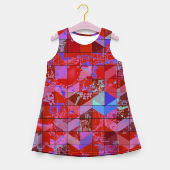 Miniaturka geometric square and triangle pattern abstract in red and blue Girl's summer dress, Live Heroes