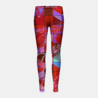 Miniaturka geometric square and triangle pattern abstract in red and blue Girl's leggings, Live Heroes