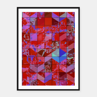Miniatur geometric square and triangle pattern abstract in red and blue Framed poster, Live Heroes