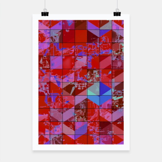 Miniaturka geometric square and triangle pattern abstract in red and blue Poster, Live Heroes