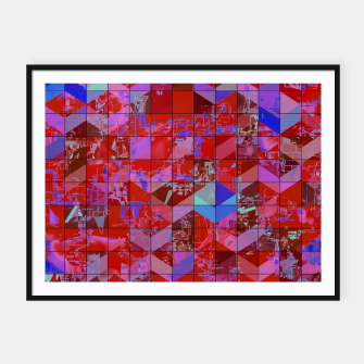 Miniaturka geometric square and triangle pattern abstract in red and blue Framed poster, Live Heroes