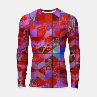 Miniaturka geometric square and triangle pattern abstract in red and blue Longsleeve rashguard , Live Heroes