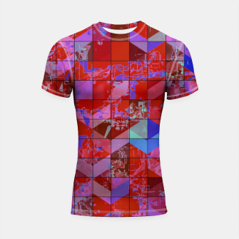 Miniaturka geometric square and triangle pattern abstract in red and blue Shortsleeve rashguard, Live Heroes