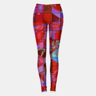 Miniaturka geometric square and triangle pattern abstract in red and blue Leggings, Live Heroes
