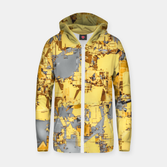 Miniaturka geometric painting texture abstract in yellow and brown Zip up hoodie, Live Heroes