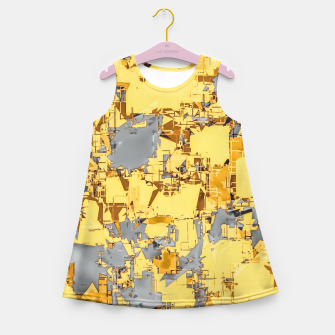 Miniaturka geometric painting texture abstract in yellow and brown Girl's summer dress, Live Heroes