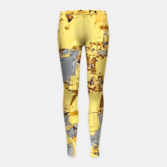 Miniaturka geometric painting texture abstract in yellow and brown Girl's leggings, Live Heroes
