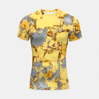 Miniaturka geometric painting texture abstract in yellow and brown Shortsleeve rashguard, Live Heroes