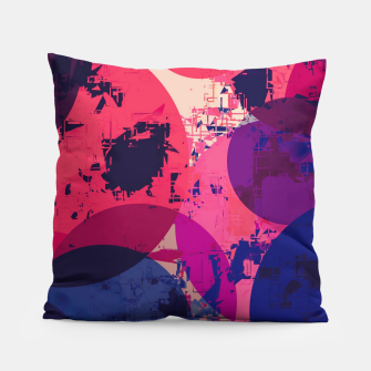 Thumbnail image of geometric circle pattern abstract in red and blue Pillow, Live Heroes