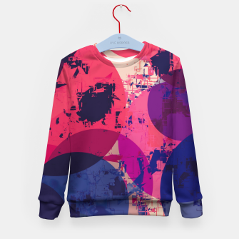 Miniatur geometric circle pattern abstract in red and blue Kid's sweater, Live Heroes