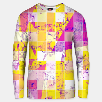 Miniatur geometric square and triangle pattern abstract in pink yellow blue Unisex sweater, Live Heroes