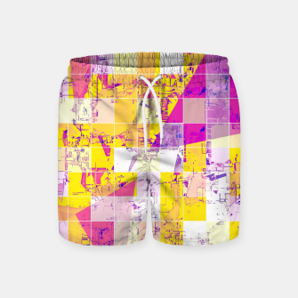 Miniatur geometric square and triangle pattern abstract in pink yellow blue Swim Shorts, Live Heroes