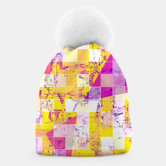 Miniaturka geometric square and triangle pattern abstract in pink yellow blue Beanie, Live Heroes