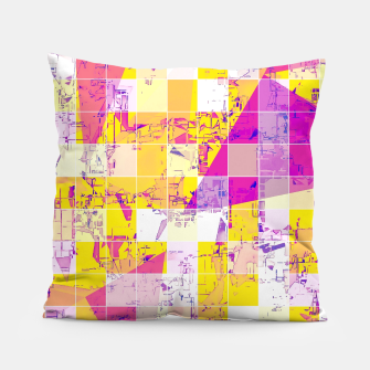 Miniaturka geometric square and triangle pattern abstract in pink yellow blue Pillow, Live Heroes