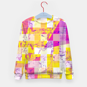 Miniatur geometric square and triangle pattern abstract in pink yellow blue Kid's sweater, Live Heroes