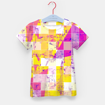 Miniatur geometric square and triangle pattern abstract in pink yellow blue Kid's t-shirt, Live Heroes