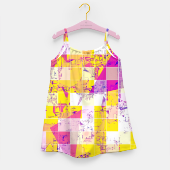 Miniaturka geometric square and triangle pattern abstract in pink yellow blue Girl's dress, Live Heroes