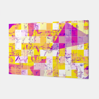 Miniatur geometric square and triangle pattern abstract in pink yellow blue Canvas, Live Heroes