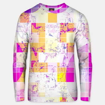 Miniatur geometric square and circle pattern abstract in pink purple yellow Unisex sweater, Live Heroes