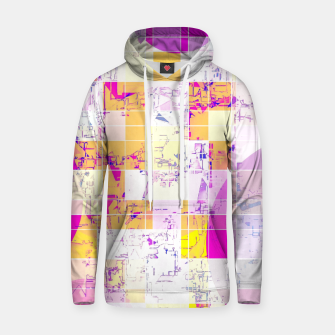 Miniatur geometric square and circle pattern abstract in pink purple yellow Hoodie, Live Heroes