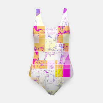 Miniature de image de geometric square and circle pattern abstract in pink purple yellow Swimsuit, Live Heroes