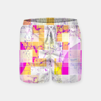 Miniatur geometric square and circle pattern abstract in pink purple yellow Swim Shorts, Live Heroes