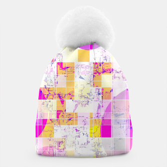 Miniaturka geometric square and circle pattern abstract in pink purple yellow Beanie, Live Heroes