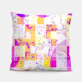 Miniaturka geometric square and circle pattern abstract in pink purple yellow Pillow, Live Heroes