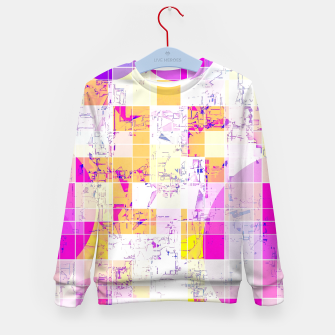 Miniatur geometric square and circle pattern abstract in pink purple yellow Kid's sweater, Live Heroes