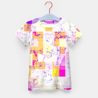 Miniatur geometric square and circle pattern abstract in pink purple yellow Kid's t-shirt, Live Heroes