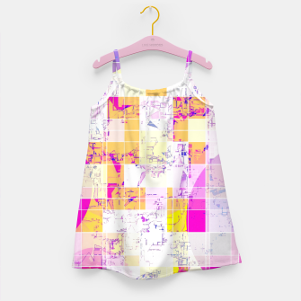Miniaturka geometric square and circle pattern abstract in pink purple yellow Girl's dress, Live Heroes