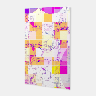 Miniatur geometric square and circle pattern abstract in pink purple yellow Canvas, Live Heroes