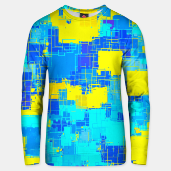 Miniatur geometric square pixel pattern abstract in blue and yellow Unisex sweater, Live Heroes