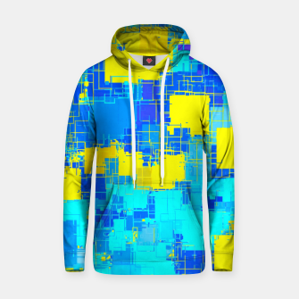Miniatur geometric square pixel pattern abstract in blue and yellow Hoodie, Live Heroes