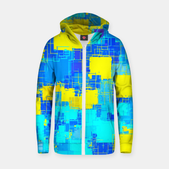 Miniature de image de geometric square pixel pattern abstract in blue and yellow Zip up hoodie, Live Heroes