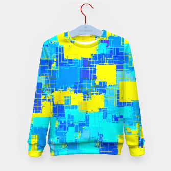 Miniatur geometric square pixel pattern abstract in blue and yellow Kid's sweater, Live Heroes