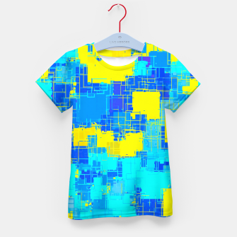 Miniatur geometric square pixel pattern abstract in blue and yellow Kid's t-shirt, Live Heroes