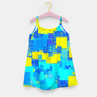 Miniaturka geometric square pixel pattern abstract in blue and yellow Girl's dress, Live Heroes