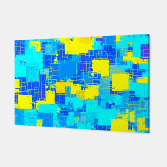 Miniatur geometric square pixel pattern abstract in blue and yellow Canvas, Live Heroes