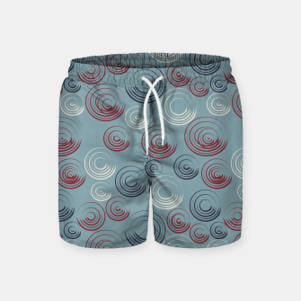 Miniatur Dark Blue and Red Circular Strokes On Blue Swim Shorts, Live Heroes
