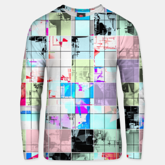 Miniatur geometric square pattern abstract in blue and pink Unisex sweater, Live Heroes