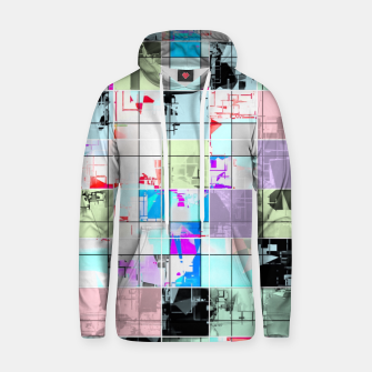 Miniatur geometric square pattern abstract in blue and pink Hoodie, Live Heroes