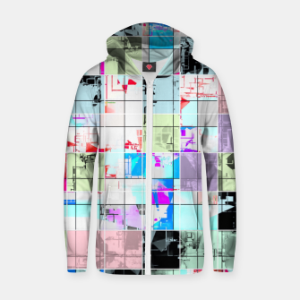 Miniature de image de geometric square pattern abstract in blue and pink Zip up hoodie, Live Heroes